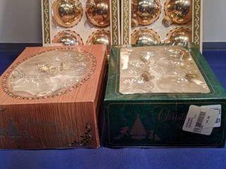four boxes of Christmas bulbs