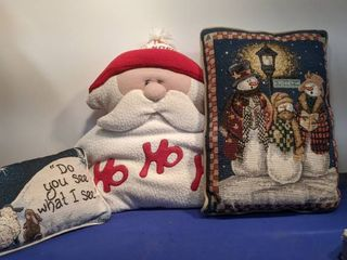three Christmas pillows