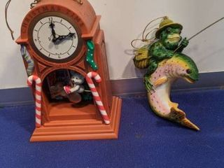 two Christmas ornaments mice going up clock and frog on fish clock needs batteries untested
