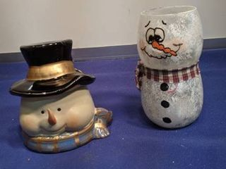 snowman candle holders one is new inbox