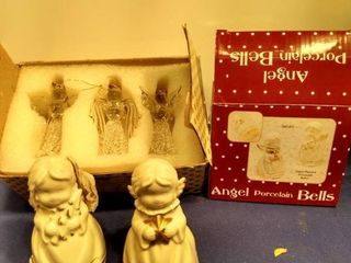set of three angel ornaments and set of two angel porcelain bells new inbox