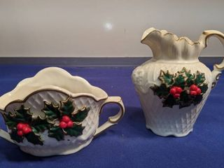 Holly pitcher and sugar