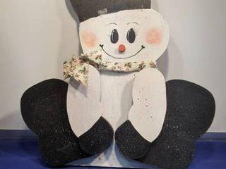 wooden cut out snowman
