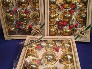 three boxes of 12 Christmas ornaments