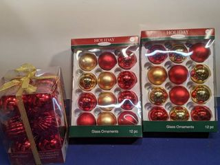 two packages of 12 glass ornaments and 1 shatterproof ornaments