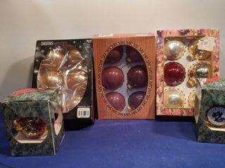 three boxes of six ornaments and two single ones