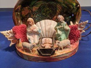 nativity set in seashells lights up