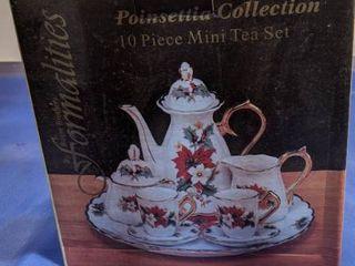 poinsettia collection 10 piece mini tea set new inbox