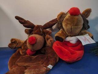 two moose Christmas sacs