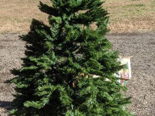 Christmas tree 6 1 2 ft cedar pine with revolving stand and 600 multi prestrung lights is untested in original box