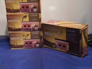 four boxes of 100 indoor outdoor icicle lights new in box