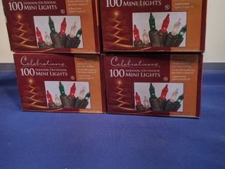 four boxes of 100 indoor outdoor mini lights red clear green new in box