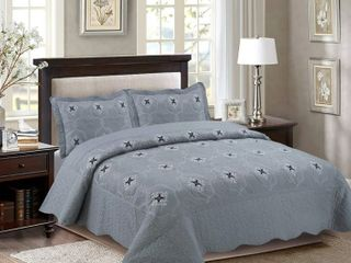 Porch  amp  Den Heceta Embroidered 3 piece Cal King King Bed Coverlet Set  Grey