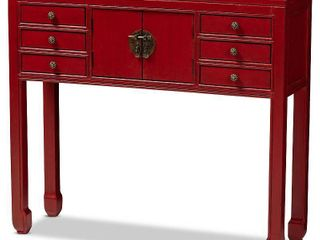 Melodie 6 Drawer Console Table Red   Baxton Studio  Slight Damage To 2 Corners  See Pictures