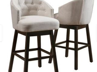 Ogden Beige Nailhead Swivel Barstools  Set of 2  by Christopher Knight