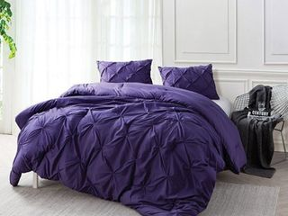 BYB Purple Reign Pin Tuck King Comforter Set  Retail 118 49