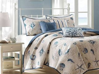 Coverlet Only  Madison Park Nantucket Blue Microfiber Brushed Printed King Coverlet Set  Retail 96 98