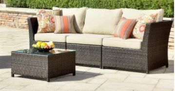 Not Complete Set  Ovios Outdoor Furniture 3 Piece Set  loveseat And Glass Top Ottoman