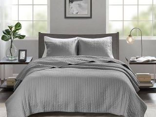 Madison Park Jaxson Grey Full Queen Coverlet Set