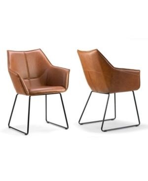 Amna Brown Arm Chair with Black Metal legs  Set of 2  Retail 327 99