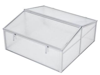 Outsunny 39  Aluminum Vented Cold Frame Mini Greenhouse