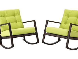 Incbruce Pation Wicker Furniture Rocking Chair  Set of 2  lime Green Cushions  Retail 396 98