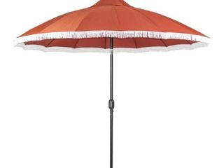 Patio Premier 9  Market Umbrella   16 rib   Fringe Design   Scarlet  Retail 103 99