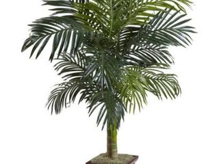 Nearly Natural Golden Cane Palm with Decorative Container  4 ft  Damaged to Container
