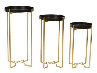 Heming Black   Gold Accent Tables  Set of 3