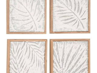 Set of 4 Natural 11  Wood and Iron Framed leaf Wall Decor  Retail 87 45