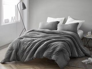 Gray Depths   Oversized Comforter   100  Yarn Dyed Cotton King Bedding  Retail 125 49