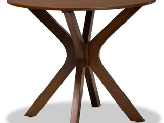 35  Kenji Wide Round Wood Dining Table Walnut   Baxton Studio