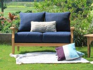 leon Teak Patio loveseat with Cushion by Havenside Home  Retail 674 49