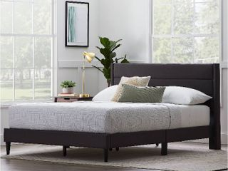 Rest Haven linen Inspired Triple lined Upholstered Bed  Queen  Charcoal