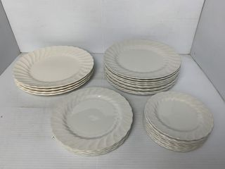 Asst  Wood   Sons Camelot White Plates