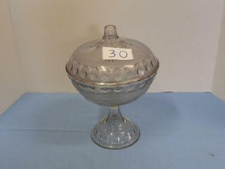 Covered pressed glass Compote