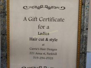 Carries Hair Design  Parkhill  Gift Certificate