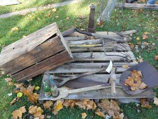 lot of Shovel  Fork  Hay Knife  Wood Crate