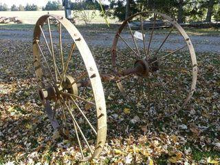 Pair of Steel Wheels on Axle