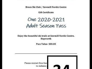 Adult Ski Pass for Sawmills Trails Bruce Ski Club