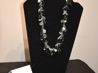 Sterling Silver Pearl  Onyx   Crystal Necklace