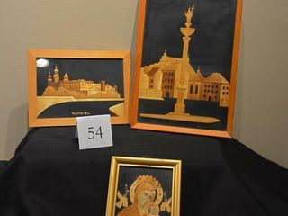 Set of 3 Framed Wooden Artwork