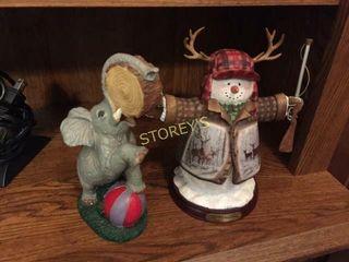Snowman   Elephant Figurines