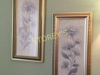 Pair of Flower Pictures   12 x 24