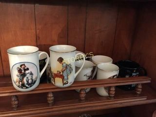 5 Norman Rockwell Collector Mugs  Etc