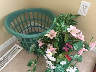 laundry Basket   Faux Flowers