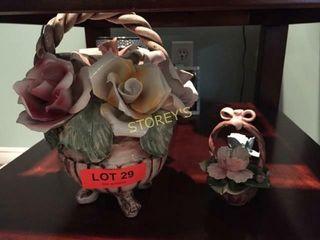 2 Porcelain Flower Decor