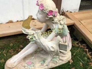 Girl w  Frog Garden Gnome
