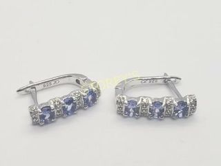 Silver Tanzanite Hoop Earrings    160