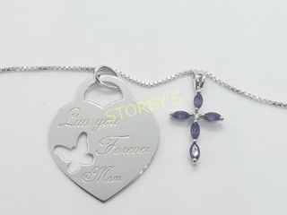 Silver 2 Pendent Amethyst  18  Necklace    160